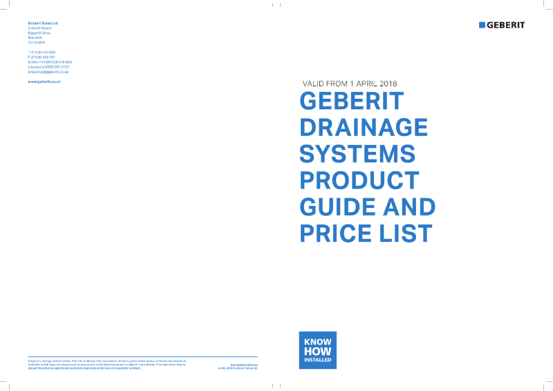 Geberit Drainage Systems Product Guide