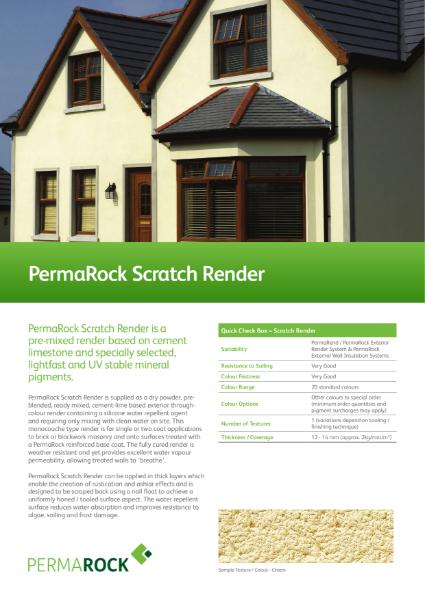 PermaRock Scratch Render (cement-lime render / monocouche / ashlar effect)