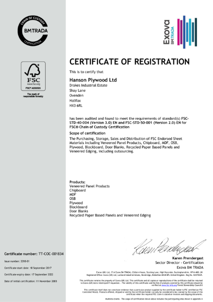 FSC Chain of Custody Certificate