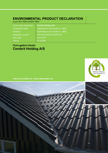 Fibre cement corrugated sheet - EPD
