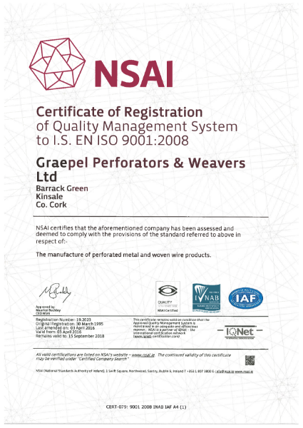 ISO 9001:2008 Certificate (perforated metal and woven wire products)
