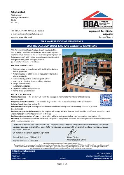 09/4668 - Product Sheet 3