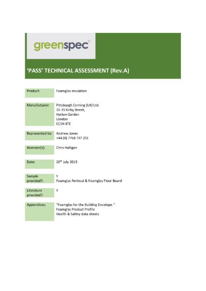 Foamglas PASS Assessment 2007-2015