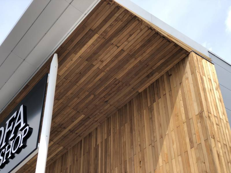 MicroShades Brunnea treated Canadian Western Red Cedar Timber Cladding Case Study - NORclad - Gallagher Retail Park