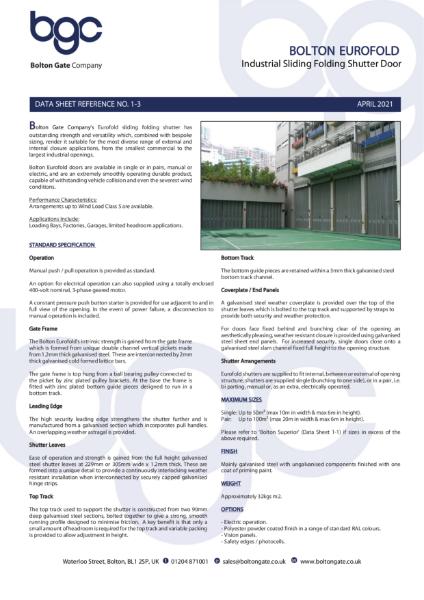 Bolton Eurofold - Industrial Sliding Folding Shutter Door