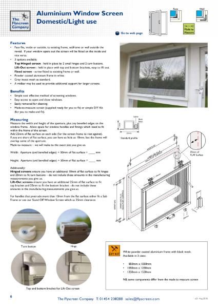 Aluminium Hinged Window Screen - Domestic