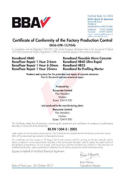 FPC Certificate (0836–CPR–13-F046 to BS EN 1504-3)