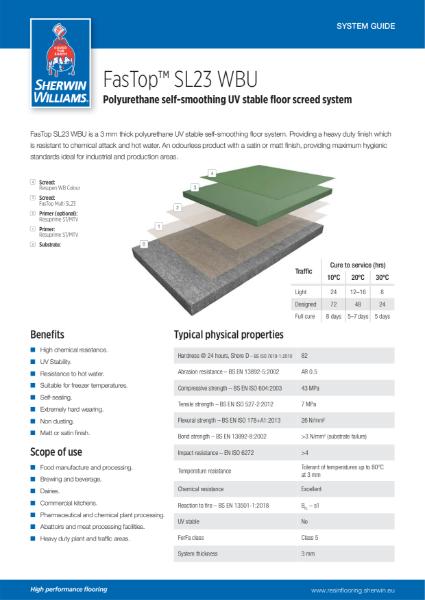 Resin flooring FasTop SL23 WBU screed system