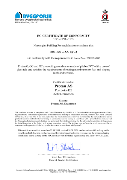 EC Certificate of Conformity for Protan G, GG and GT Membranes