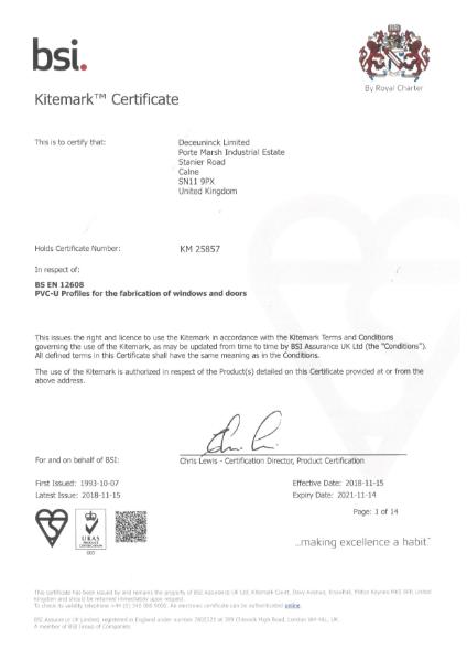 BSI Kitemark: BS EN 12608 Certificate