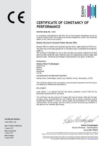 Hemsec SIPs CE Certificate - Certificate of Constancy of Performance