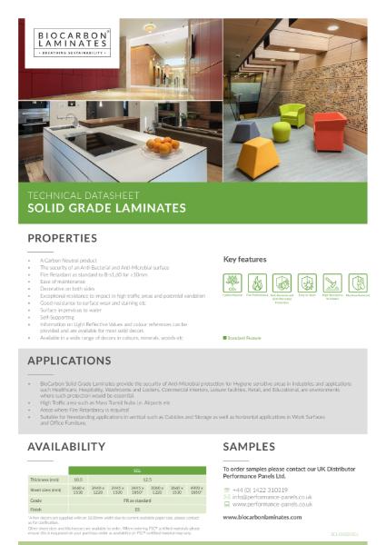 BioCarbon Laminates Solid Grade Laminate (SGL) datasheet