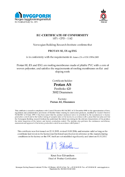 EC Certificate of Conformity for Protan SE, EX and EX-G Membranes