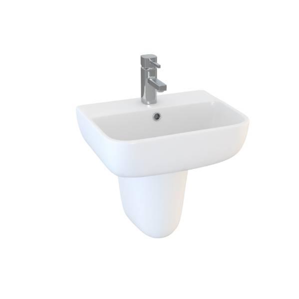 DS6 60 cm 1TH basin and semi pedestal