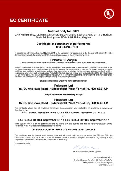 Protecta FR Acrylic - EC Certificate