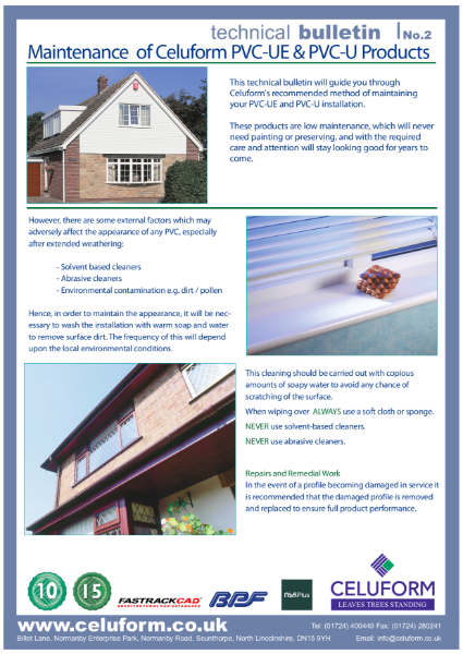 Technical Bulletin No.2 - Maintenance of Celuform PVC-UE & PVC-U Products