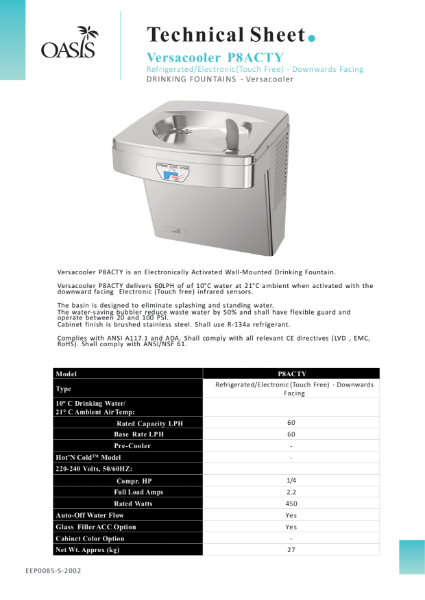 P8ACTY Electronically Activated Wall-Mounted Drinking Fountain