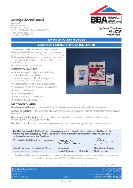 BBA Certificate 91/2727