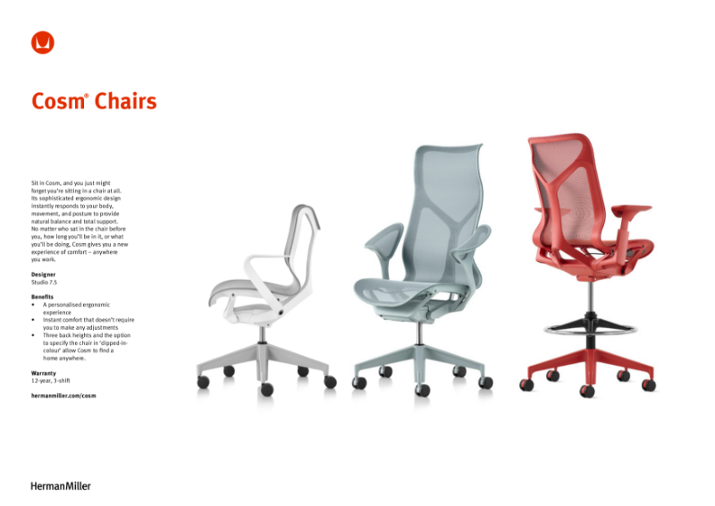 Cosm Chair Product Sheet