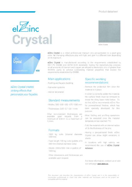 elZinc Crystal Pre-patinated Zinc Datasheet
