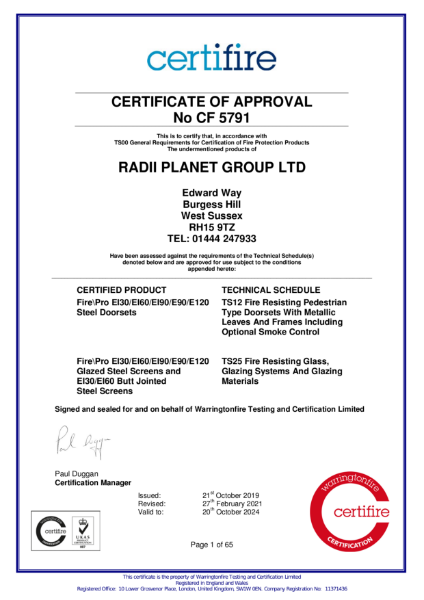 Certifire CF5791 Certificate of Approval - Ei Systems - Radii Planet Group