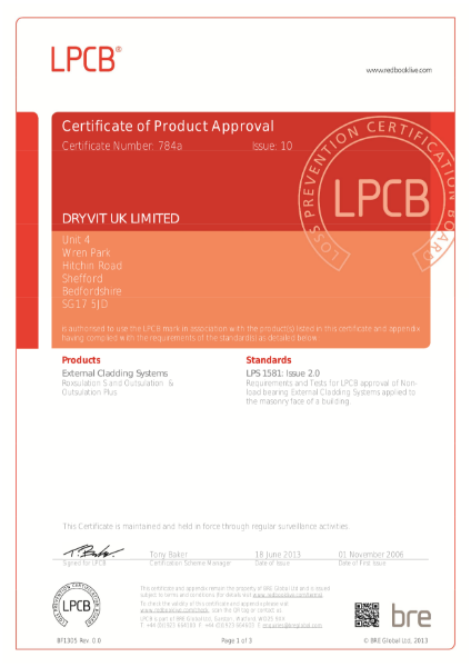 Certificate of Product Approval LPS 1581 issue 10