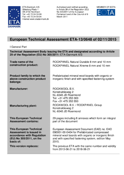 European Technical Approval ETA-13/0648 Certificate