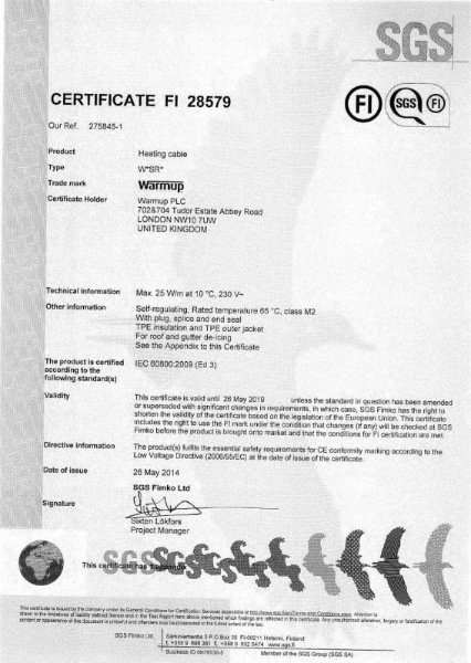 IEC 60800:2009 Certificate (WSR)