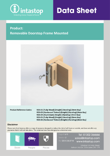 Removable Door Stop Frame Mounted Data Sheet