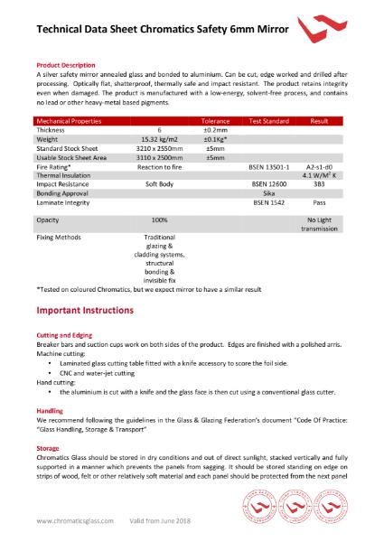 Chromatics Safety Mirror Data Sheet