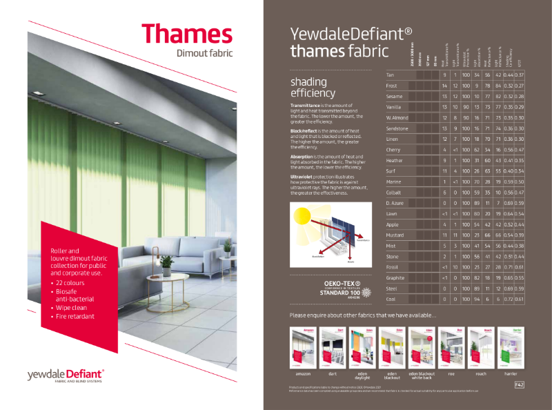YewdaleDefiant® Thames Dimout fabric for blind systems