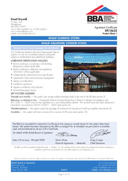 09/4633 Knauf Aquapanel exterior system