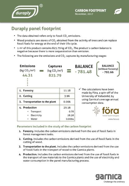 Garnica Duraply Carbon Footprint