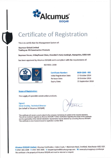 ISO 9001:2008 Certificate - FIS