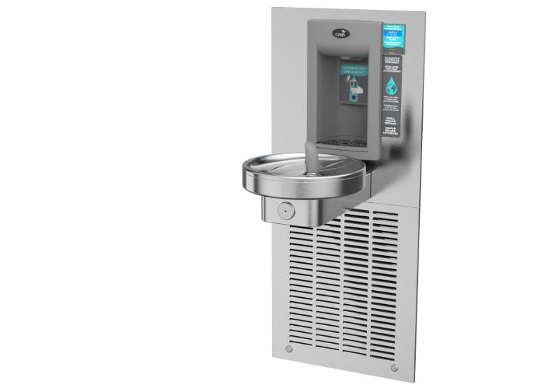 M8WREBFY Fully Recessed Hands-Free bottle filler with a Radii Modular Drinking Fountain