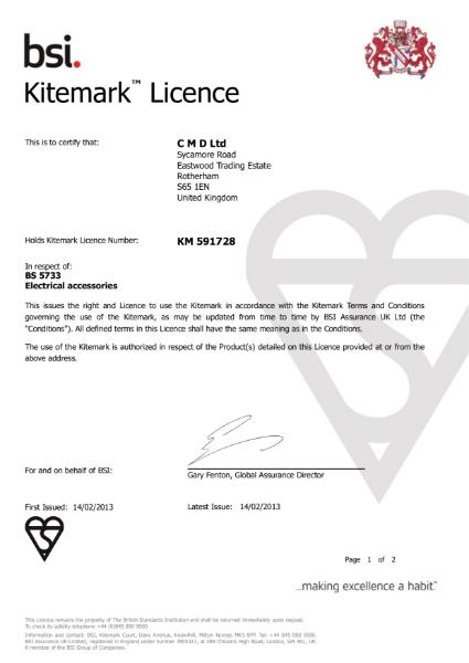 BSI Kitemark: BS 5733 Certificate