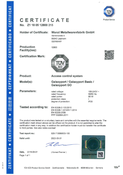Galaxy Port - TUV Certificate