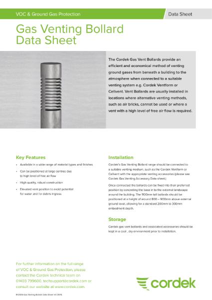 Cordek Gas Venting Bollards Data Sheet