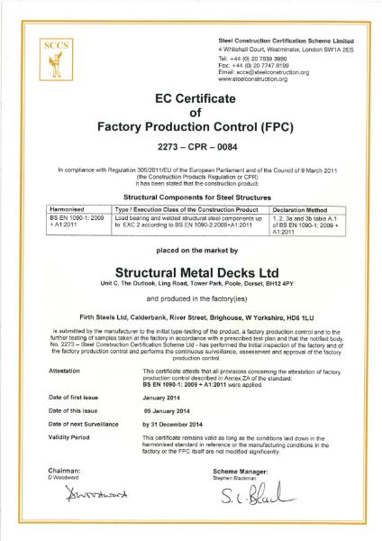 BS EN 1090-1 CE Mark Certificate