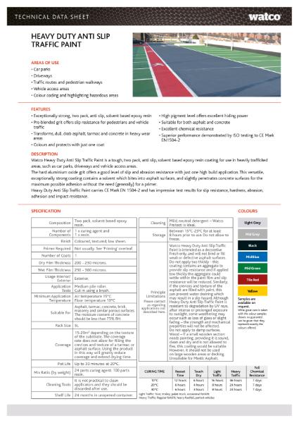 Data Sheet: Heavy Duty Anti-Slip Traffic Paint